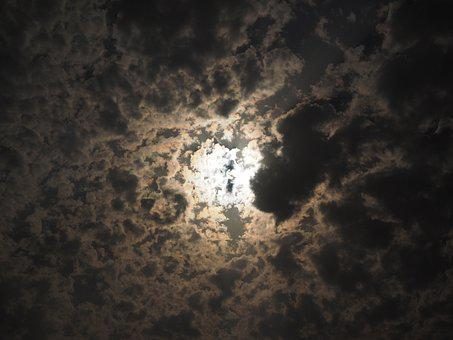 Moon, Night, Sky, Clouds, Full Moon, Darkness