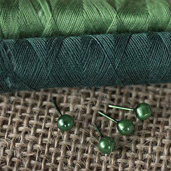 Green, Threads, Sewing, Needle, Textile, Haberdashery