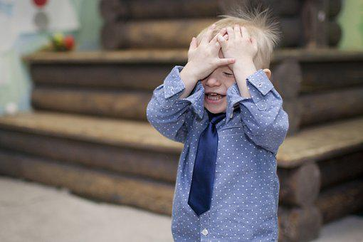Boy Covering Face, Boy, Tie, Hands, Emotions, Baby