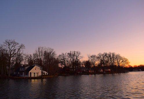 Sunset, Lake, Water, Sky, Landscape, Reflection, Blue