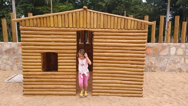 Child, Girl, Little House, Wooden House, Childish, Wood