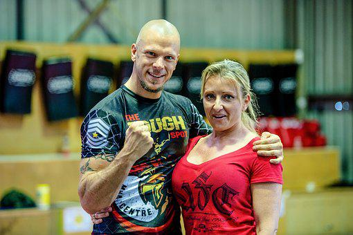 Couple, Fighting Stance, Fist Raised, Gym, Martial Arts