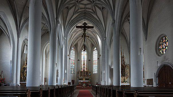 Nave, Altar, Catholic, Cross, House Of Worship