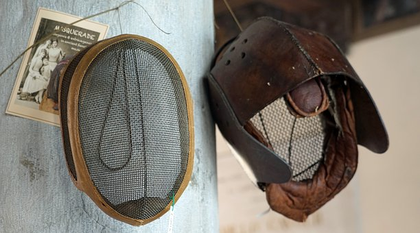 Fencing, Fencing Mask, Face Protection, Grid, Old