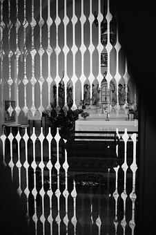 Chapel, The Altar, Glass, Reflection, Black And White