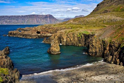 Island, Iceland, Scenic, Landscape, Coast, Sea, Sky