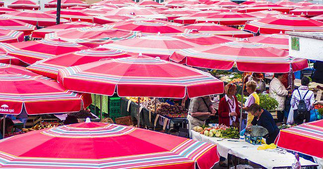 Red, City, Marketplace, Travel, Urban, People, Parasol