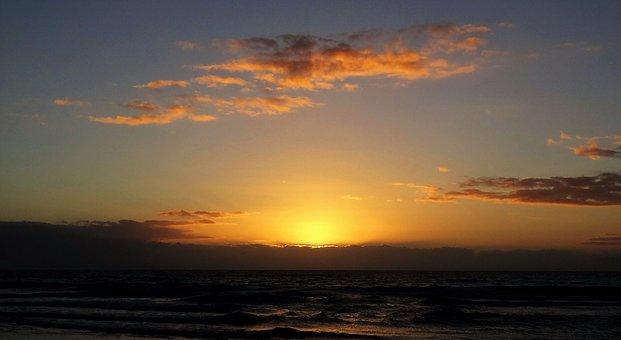 Sunrise, Sea, Beach, Morning, Dawn, Color, Farbenspiel