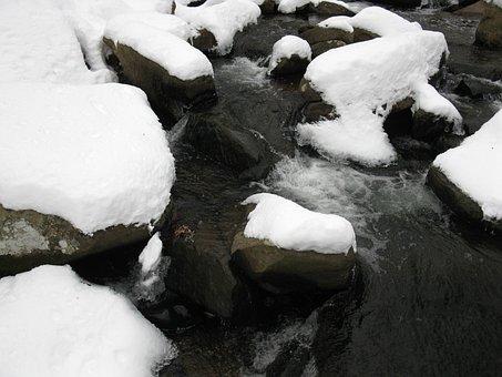 Winter, Brook, Rocks, Cold, White, Creek, Outdoor