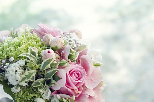 Bouquet Of Flowers, Background, Roses, Flower, Salmon