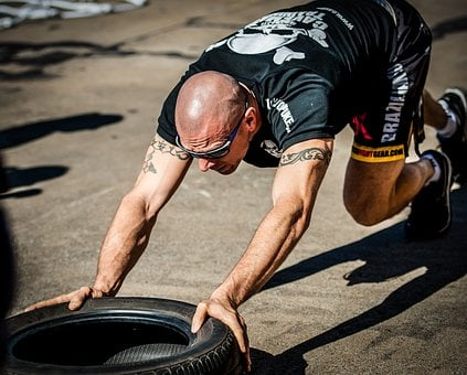 Tyre Push, Tyre Workout, Training, Gym, Hardcore