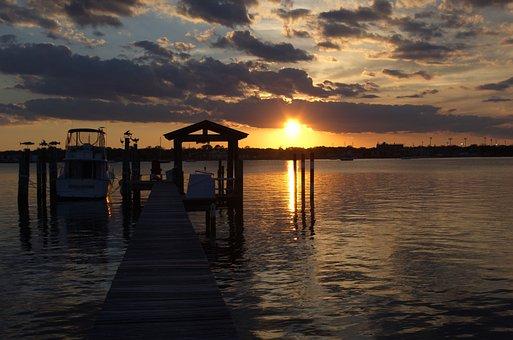 Sunset, River, Dock, Water, Sky, Landscape, Nature