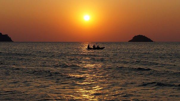 Boat, Sunset, Island, Sea, Landscape, Water Ripple