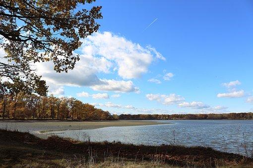 Pond, Bank, Landscape, Nature, Clouds