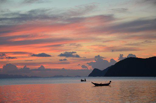 Sunset, Sea, Dusk, Mood, Abendstimmung, Sky, Evening