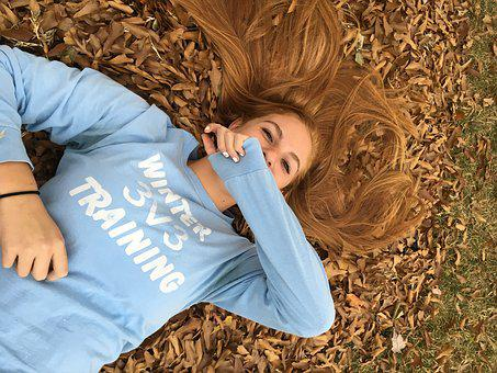 Fall, Leaves, Girl In Leaves, Colorful, Laughing, Young