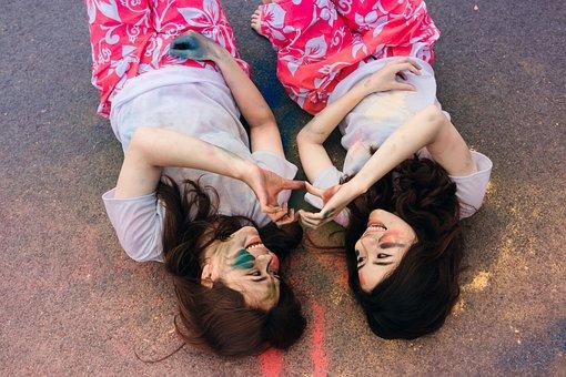 Women, Friendship, Lying Down, Smiling, Friends, Young