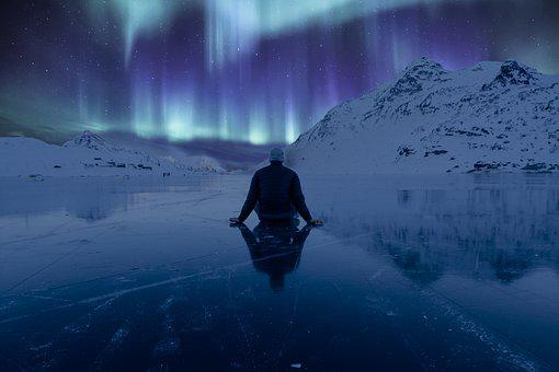 Northern Lights, Ice, Mountain, Northern, Arctic