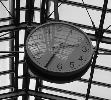 Clock, Black And White, Time, Hours, Pointer
