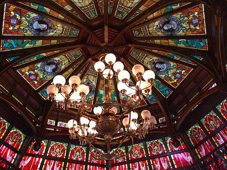 Disneyland, Ceiling, Stained Glass, Chandelier