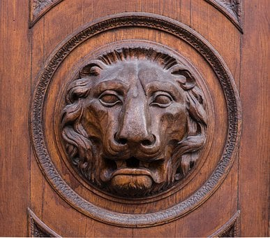 Lion, Head, Wood, Door, Goal, Figure, Lion Head