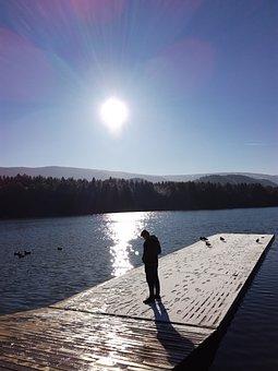Outdoor, Nature, Boy, Ducks, Swans, Sunset, Water, Pond