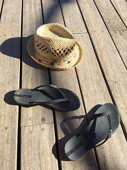 Holiday, Slippers, Hat, Sun, Travel