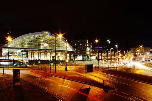 Liverpool, Train, Station, Car, Blur, Lights, Rail
