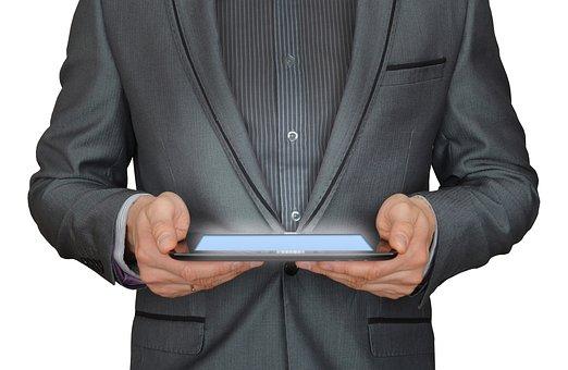 Man, Businessman, Tablet Computer, Online Business
