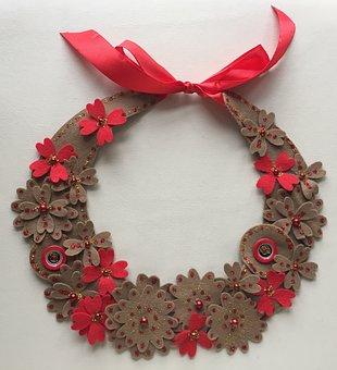 Necklace, Felt, Female, Red, Feast, Greetings, Feeling