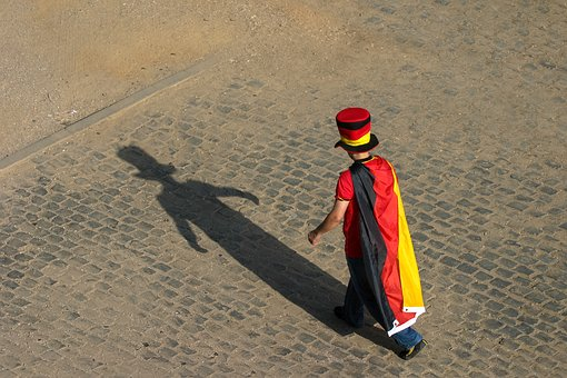 Man, Hat, National Colours, Germany, Flag, Shadow
