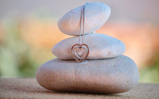Necklace, Heart, Stones, White Gold, Jewelry, Love