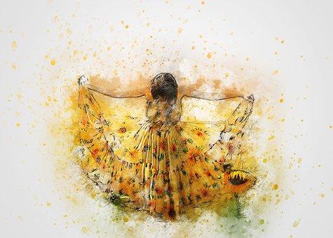 Girl, Dress, Sunflower, Art, Abstract, Flourish, Woman