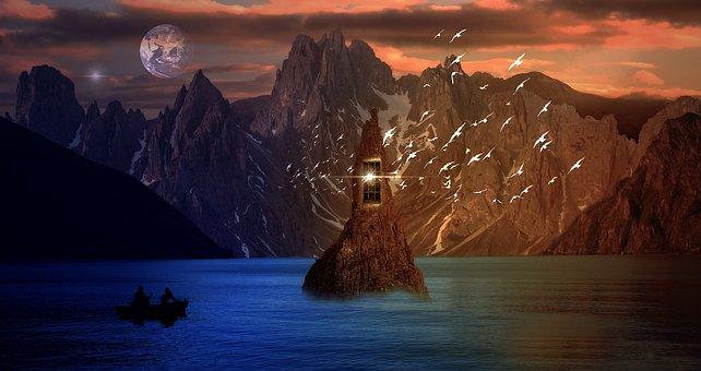 Lake, Planet, Fantasy, Island, Mountains, Boat, Water