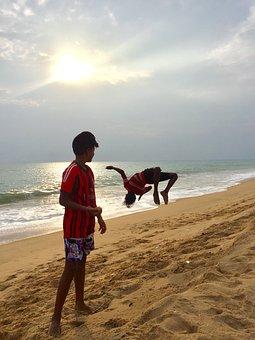 Jumping For Joy, Beach, Ocean, India