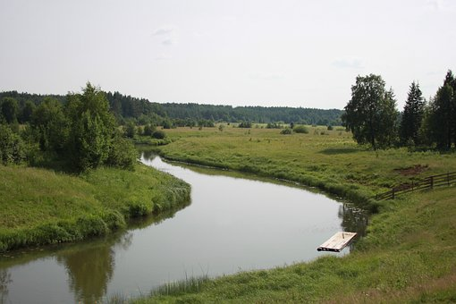 River, Raft, Village, Summer, Small River, Countryside