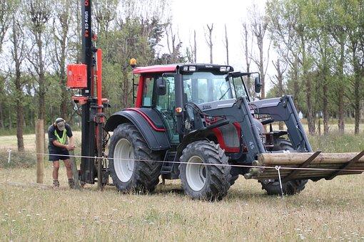 Tractor, Fencing, Farm, Rural, Pasture, Field, Farmer