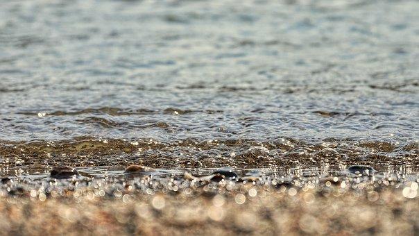 Sea, Beach, Wave, Stone, Pebbles, Light, Natural