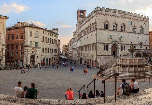 Perugia, Umbria, Italy, Piazza, View, Fountain More