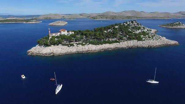Bird's Eye View, Island, Sea, Lantern, Boat, Sailboat