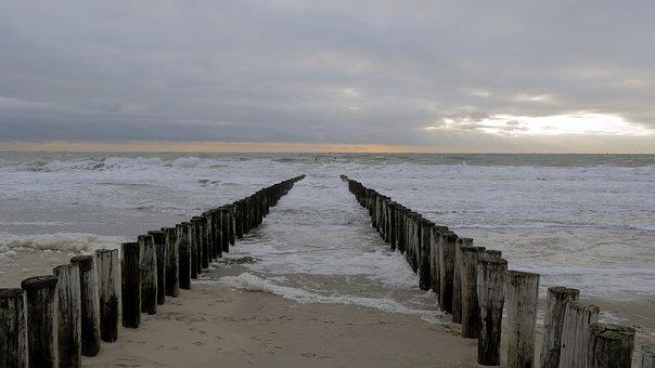 Holland, Bollard, Sea, Water, Beach, North Sea