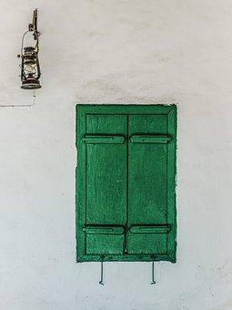 Window, Wooden, Green, Lamp, Village, House