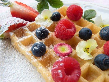 Waffle, Fruit, Icing Sugar, Sweet, Sugar, Spelt