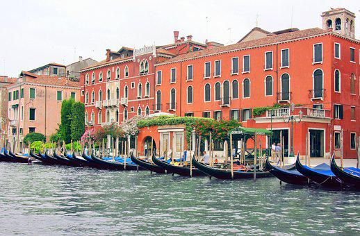 Venice, Italy, Channel, Gondola, Gondolas, Barca, City