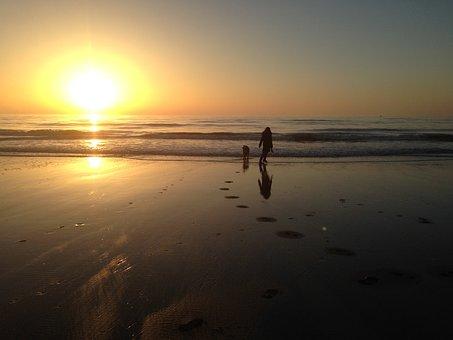 Beach, Sand, Sunset