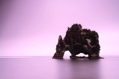 Iceland, Rock, Formation, Crag, Sea, Ocean, Water