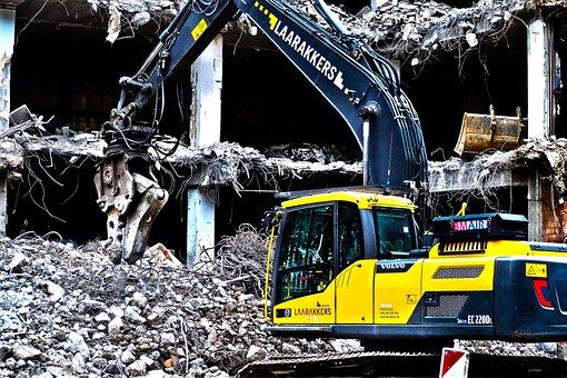 Site, Demolition, Excavators, Home, Construction Work