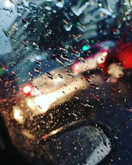 Drops, Rain, Auto, Wet, Abstraction, Moisture, Window