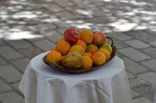 Fruit, Orange, Cloth, Fine, Table, Outdoors