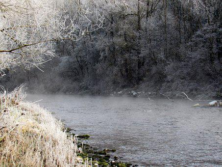 River Landscape, Hoarfrost, Winter Magic, Fog